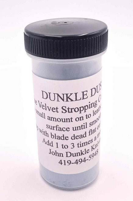 The Dunkle Dust stropping compound in the jar as it is sold.