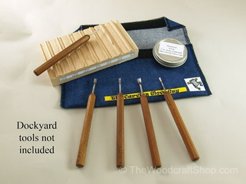 The Dockyard Miniature Tool Strop shown with tools, sharpening compound and a denim case.