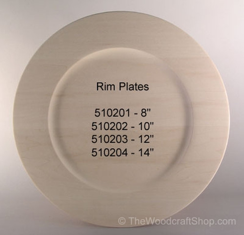 Basswood Rim plate showing a plate with some of the different sizes available.