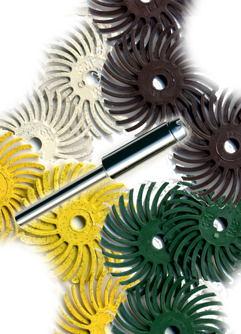"""Radial Bristle Disc Set 1"""" with 1/8 Mandrel  showing an image of all 3 types of radial discs and the mandrel."""
