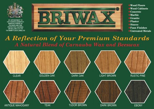 BRIWAX Clear showing colors of the wax finish on different woods.