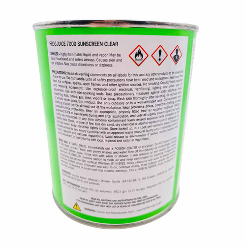 Listings of precautions on can of frog juice.
