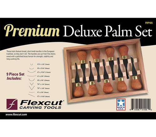 Flexcut Premium Deluxe Palm Set shown in the original package.