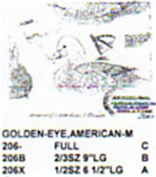 American Golden Eye Resting On Water Carving Pattern showing the male Golden Eye Stiller pattern.