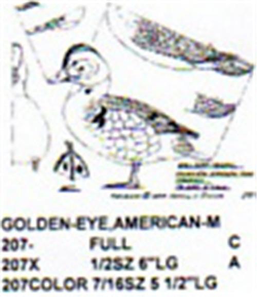 American Golden Eye Standing Carving Pattern showing the Stiller pattern of the male Golden Eye.