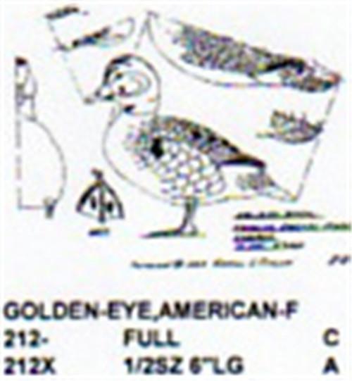 American Golden Eye Standing Carving Pattern showing the Stiller pattern of the Female Golden Eye.