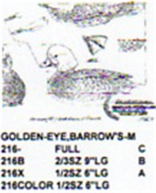Barrows Golden Eye Resting On Water Carving Pattern showing the Male Barrows Golden Eye Stiller pattern.