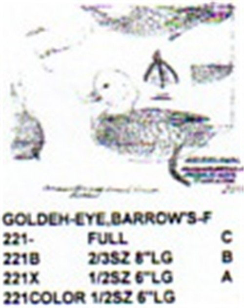 Barrows Golden Eye Resting On Water Carving Pattern showing the Female Barrows Golden Eye Stiller carving pattern.