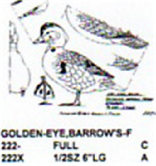 Barrows Golden Eye Standing Carving Pattern showing the Female Golden Eye Barrows in two different sizes.