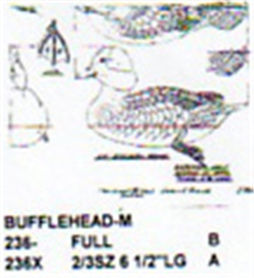 Bufflehead Resting On Water Carving Pattern showing the Male Bufflehead duck in two different sizes.