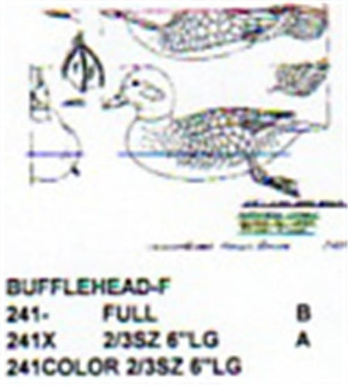Bufflehead Resting On Water Carving Pattern showing the Female Bufflehead duck in two different sizes.