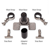 Shown here are all of the wind generator pole mount components that are included in this kit - all hardware is 316 SS.