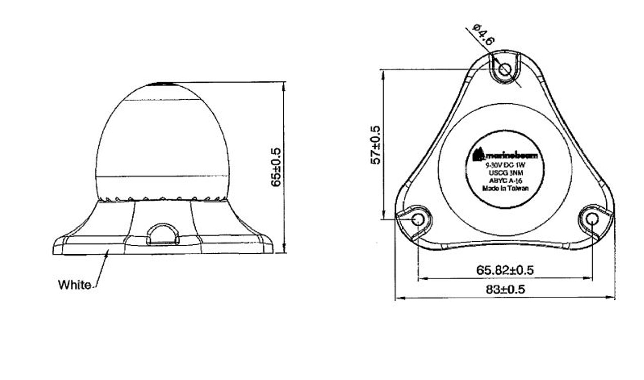 Marinebeam LED Anchor Light Dimensions