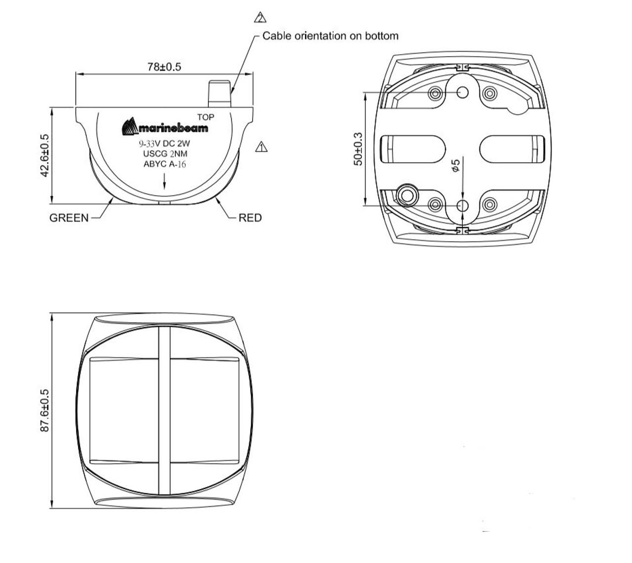 Marinebeam Navigation LED Bow Light Dimensions