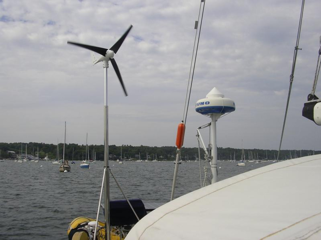 Marine Kinetix wind generator turbine mounted on a Island Packet sailboat