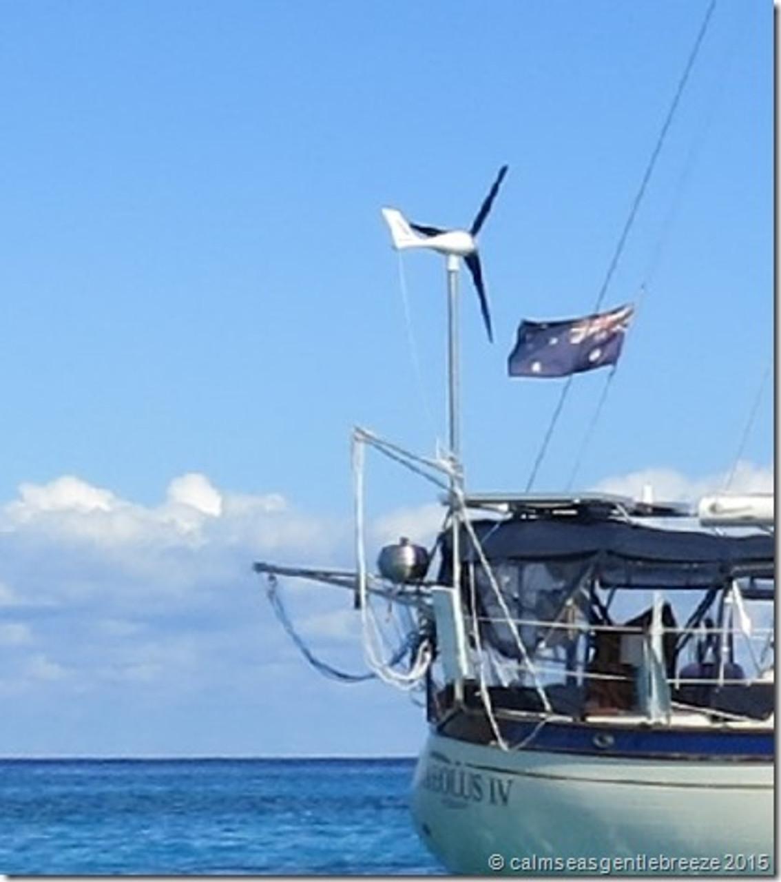 Marine Kinetix MK4+ Wind Generator mounted on double-ender sailboat - Compliments of Kate & Chris Ellis on Aeolus IV