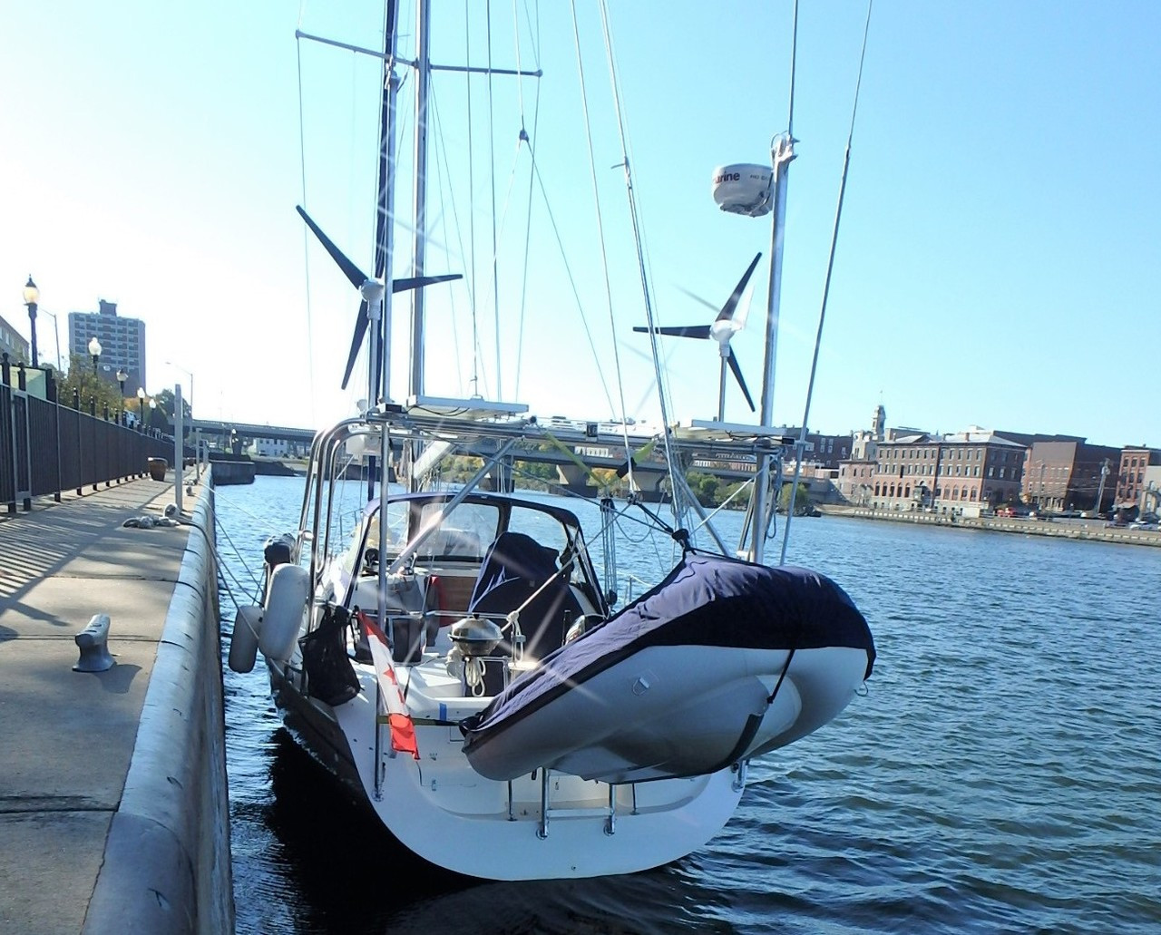 Dual Marine Kinetix MK4+ wind generator installation.  Double the power!
