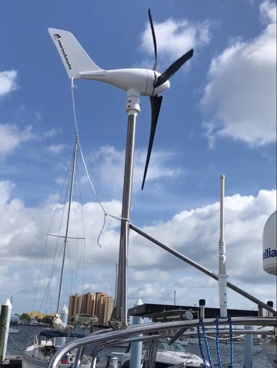 "MK4 Wind Generator arch-mounted aboard Dick and Gerlinda Vanderheidewijma's 35' Island Packet ""Windependence"""