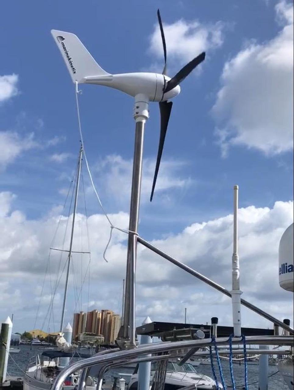 "MK4 Wind Generator arch-mounted aboard Dick and Gerlinda Vanderheidewijma's 35' Island Packet ""Windependence"""