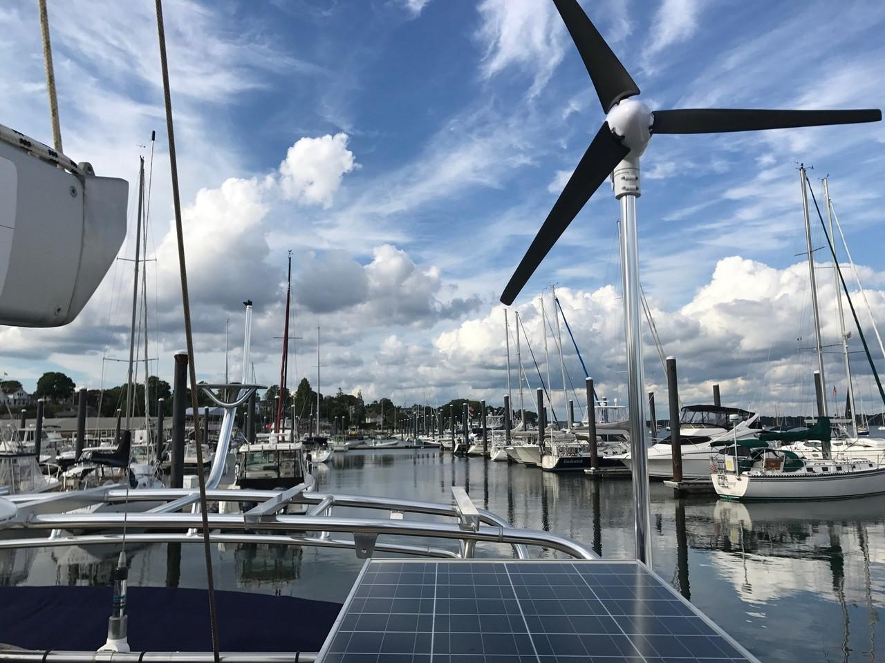 Marine Kinetix  MK4+ wind generator mounted on aluminum arch
