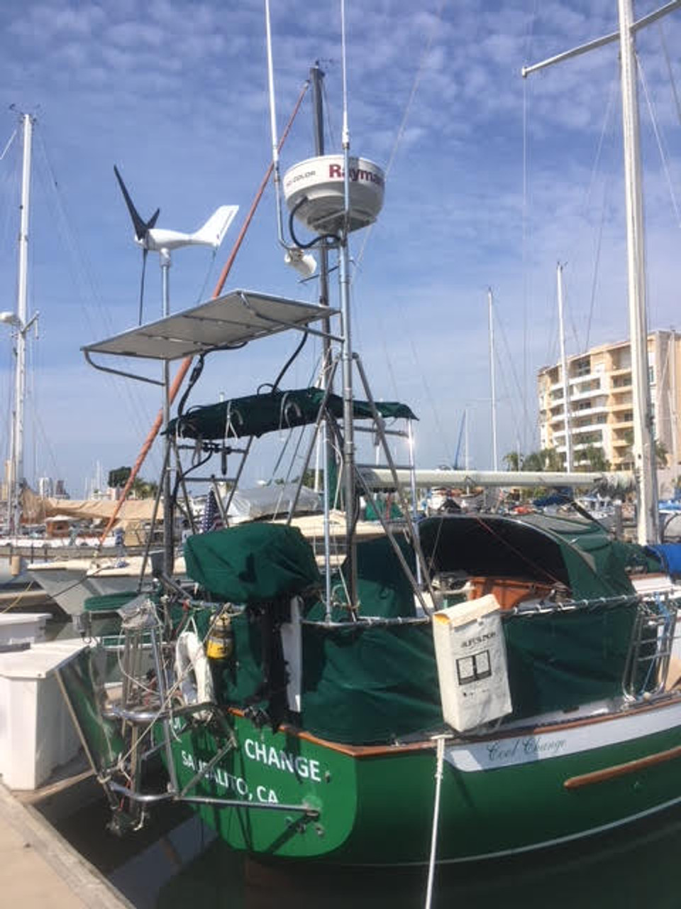 Marine Kinetix MK4+ on a custom arch and pole mount - aboard S/V Cool Change (Rick Patrinellis)