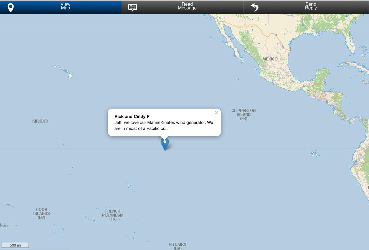 Happy Marine Kinetix customer giving us kudos by satellite in the midst on a Pacific crossing!
