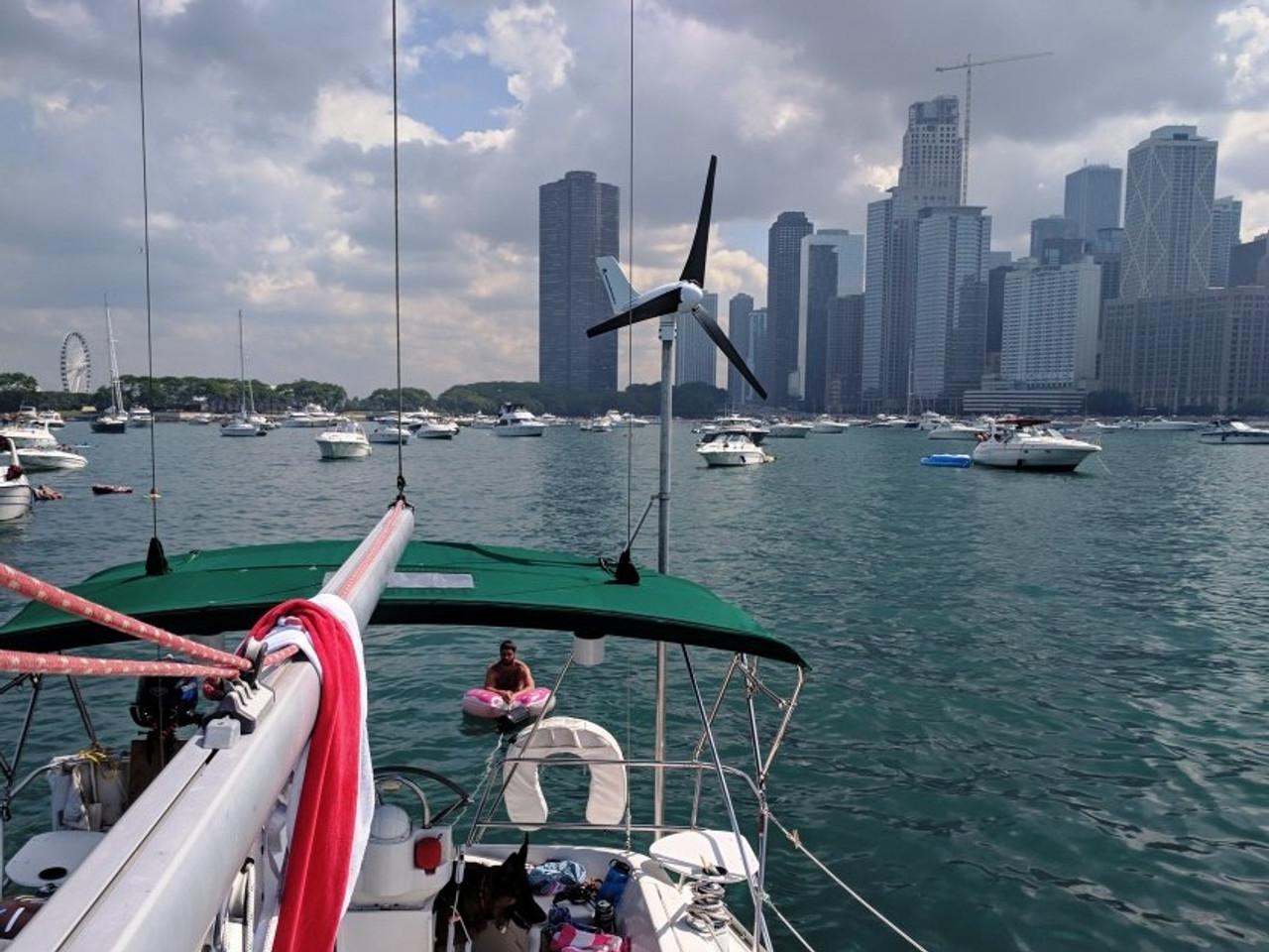 "Chi-Town skyline with Marine Kinetix MK4+ and Dan Ratko aboard his 2000 Beneteau 331 ""Strategic Rum Reserve"""