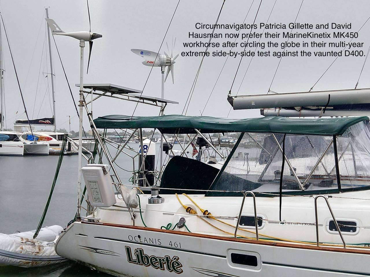 The ultimate multi-year circumnavigation test against the popular D400.  Marine Kinetix wins again!