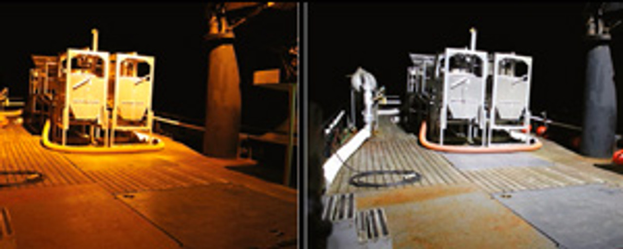 Side-by-side High Pressure Sodium (left), Vision Series LED (right)