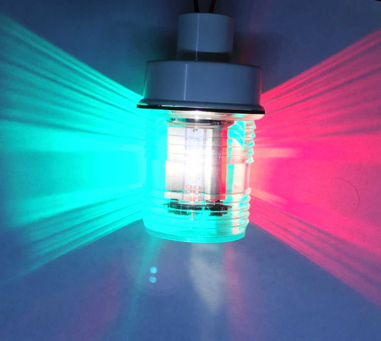 Marinebeam Tri-Mode LED Tri-Color bulb in an anchor light fixture.  Fixture not included.