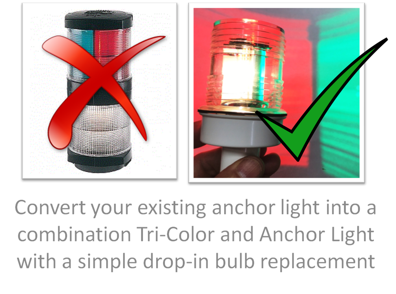 LED Tri-Color and Anchor Light Combination Bulb