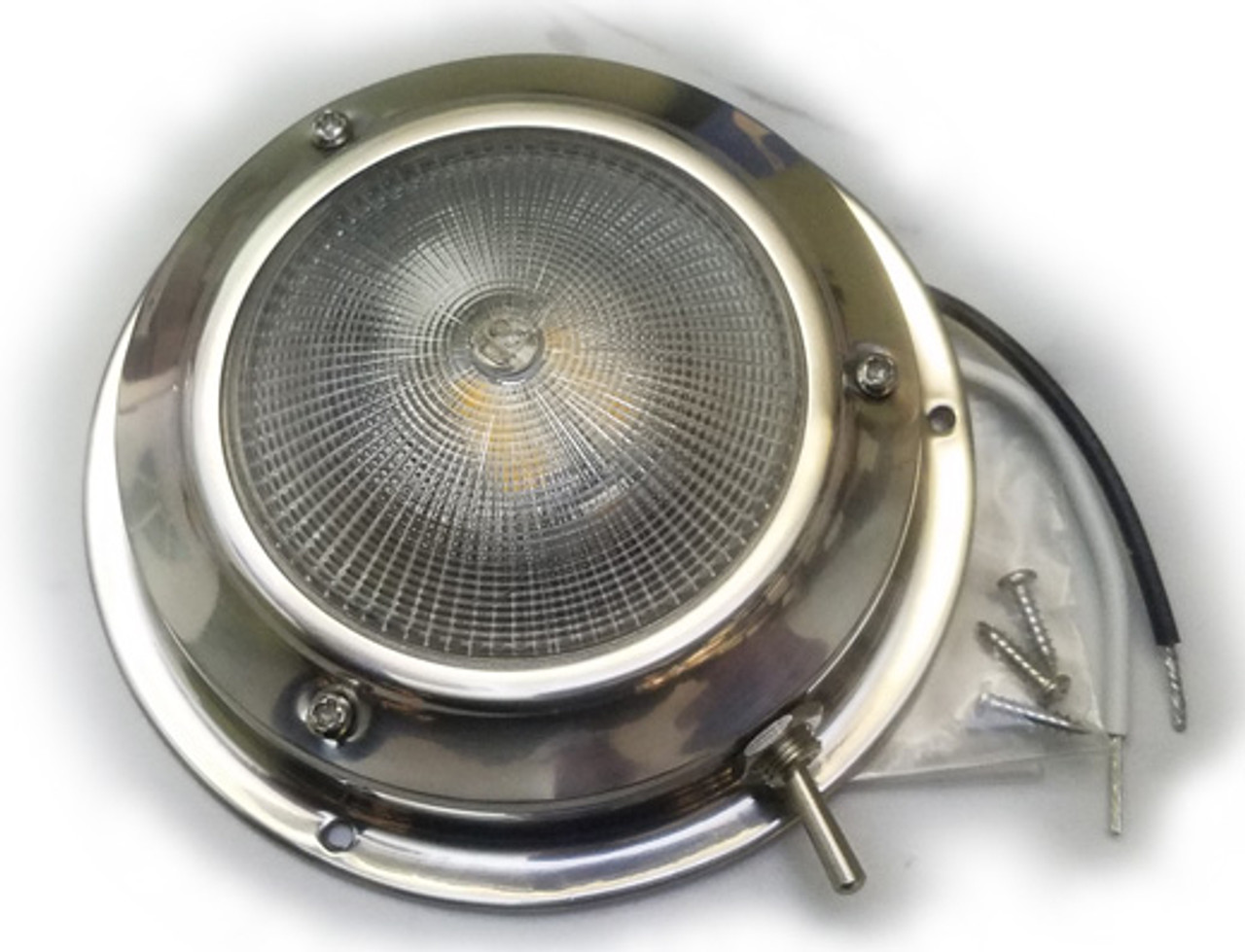 Stainless Steel finish LED dome light for boats (showing screw kit and wiring)