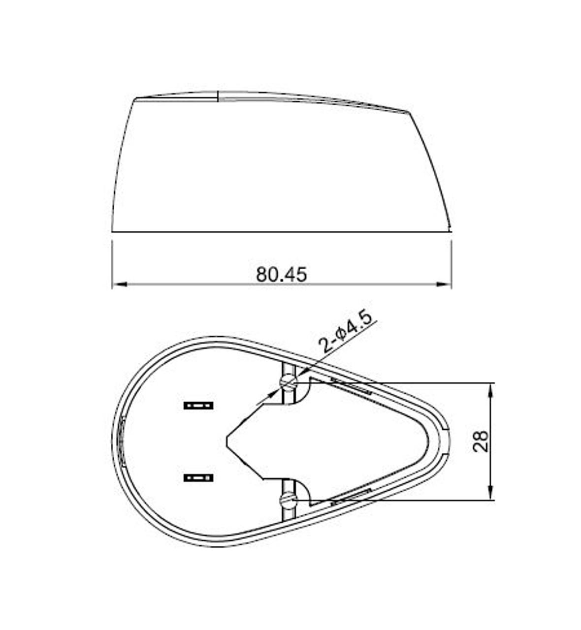 LED Navigation Side Lights (Pair) 12V/24V  - Horizontal Mount