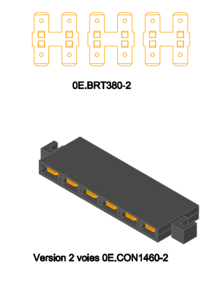 0E1460-2  Two-to-two terminal block, for making pairs of common connections