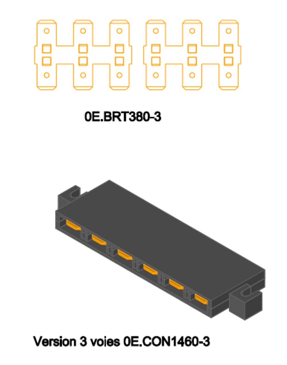 0E1460-3  Three-to-three strip, for making 3-up  (x2) common connections
