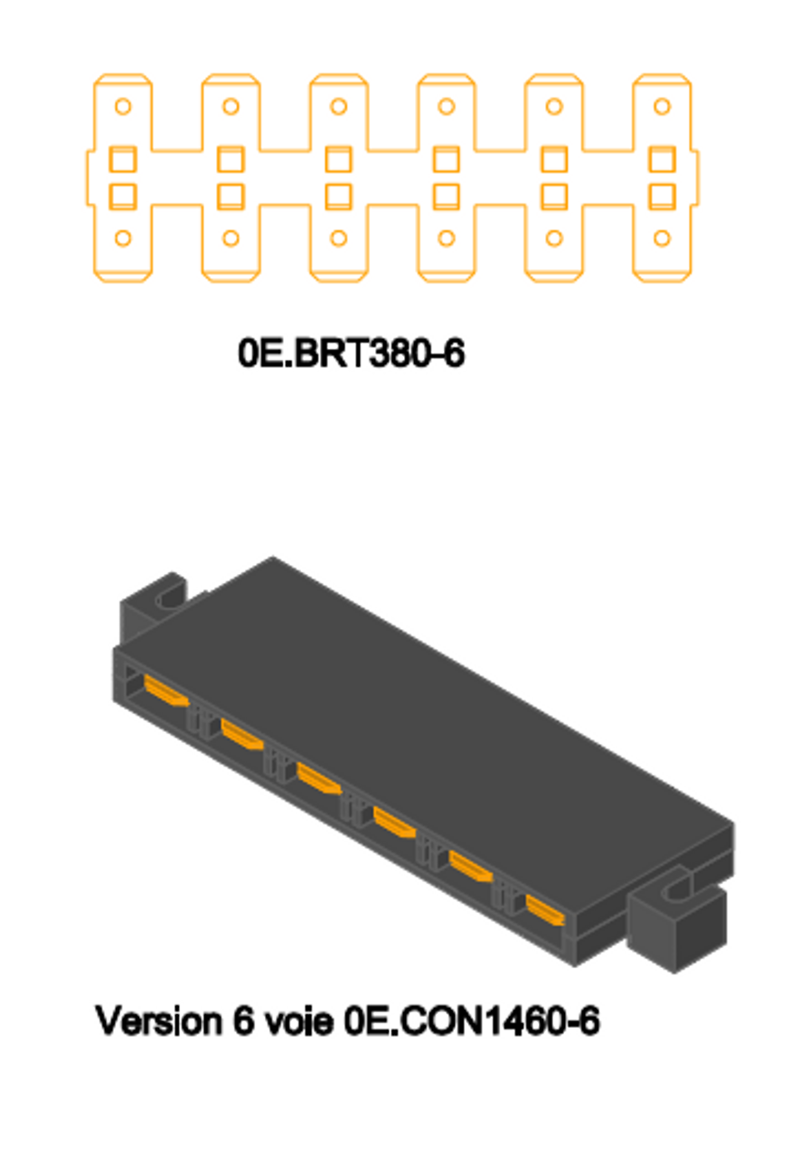 0E1460-4  6-up common connections - bus bar