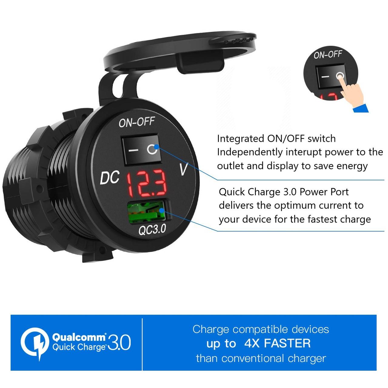 12V or 24V USB Charging Port for tablets and phone
