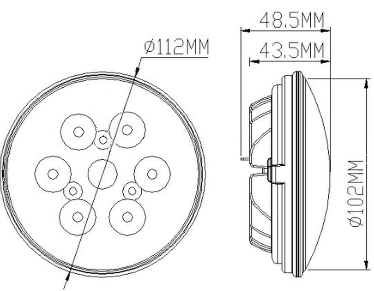 Marinebeam Spreader Light PAR36 Dimensions