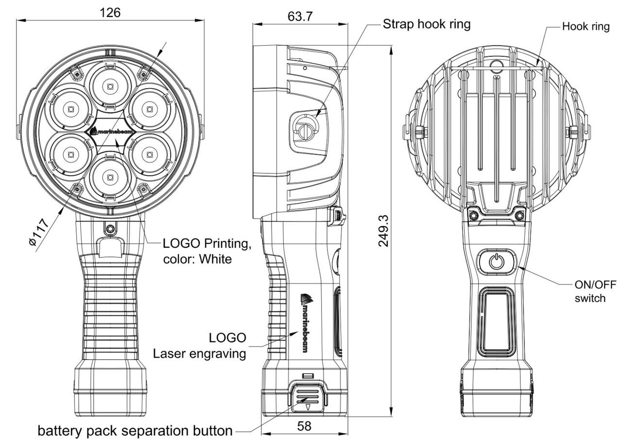 Marinebeam Handheld Long Range LED Spotlight