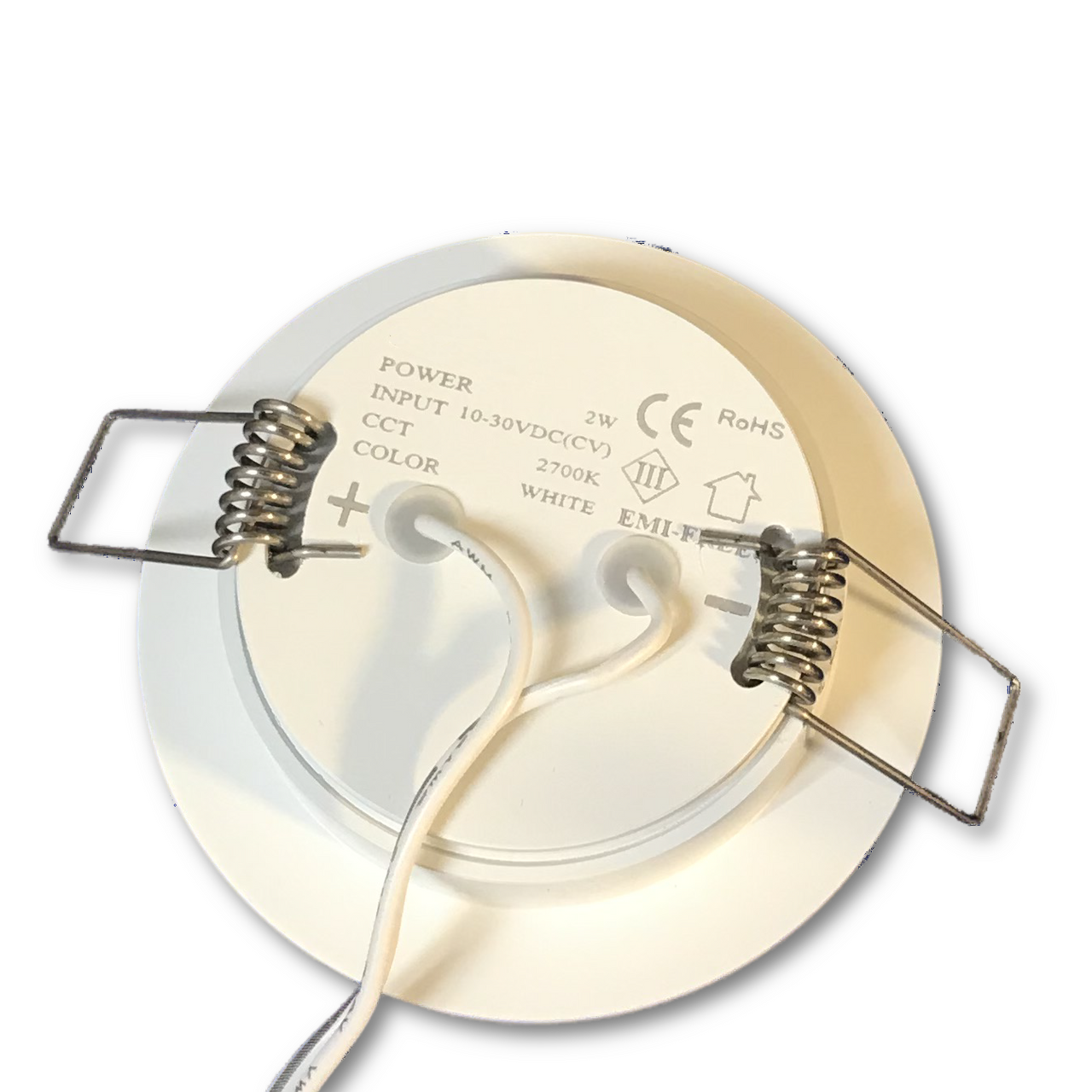 Recessed low profile LED downlight with spring mounting clips