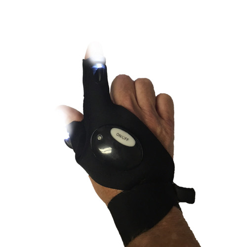 Glove Light features two powerful LEDs on the index finger and thumb
