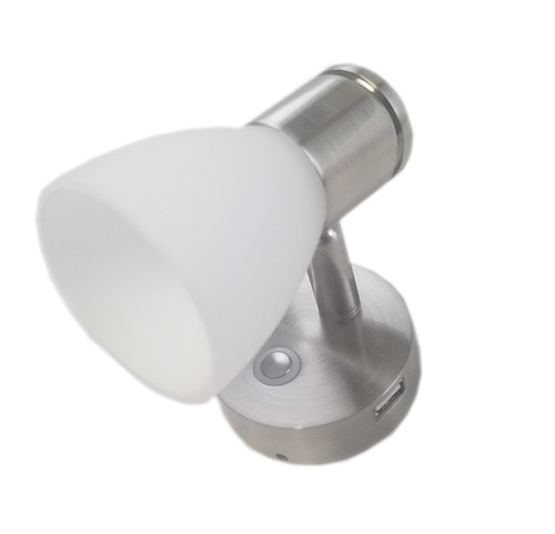 Brushed Nickel Bulkhead Reading Lamp with 2A USB Charge Port