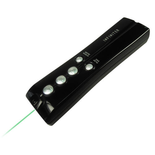 INFINITER LR14G 2.4GHz Wireless Presenter with Green Laser, Black
