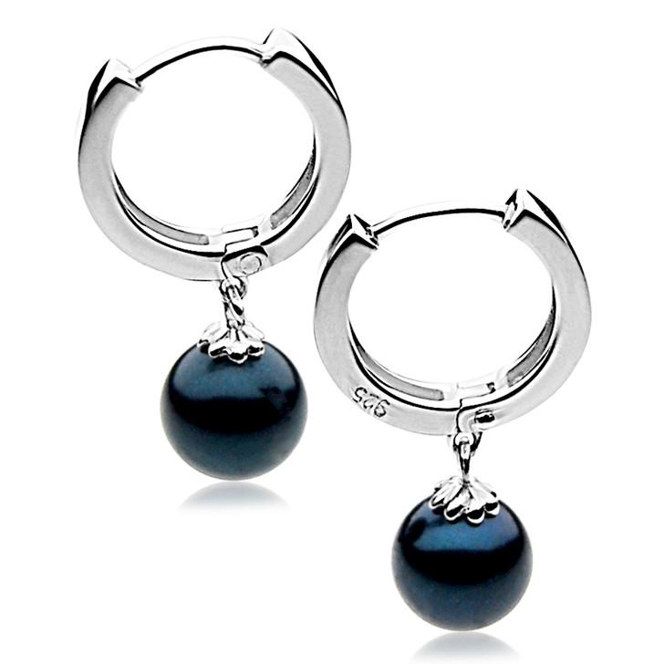 AE069  (AAA 6.5-7 mm Black Japanese Akoya Saltwater Pearl  Earrings In Silver