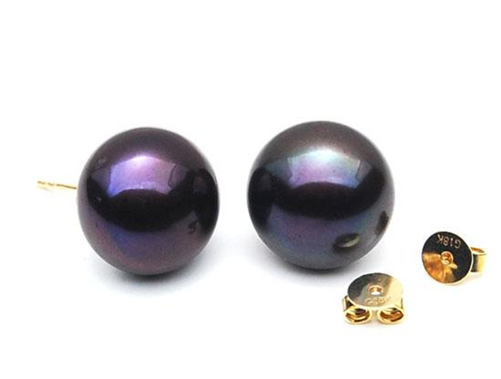 FE008  ( 11mm Black Freshwater Cultured Pearl  In 18K Gold)