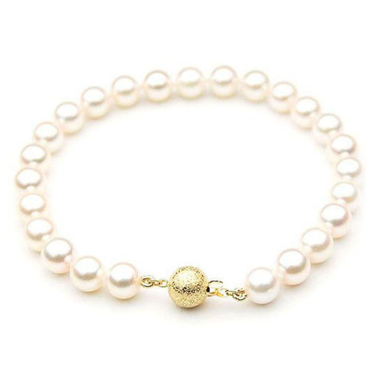 AB008 (AAA 7.5-8 mm Japanese Akoya Saltwater Pearl Bracelet gold clasp)
