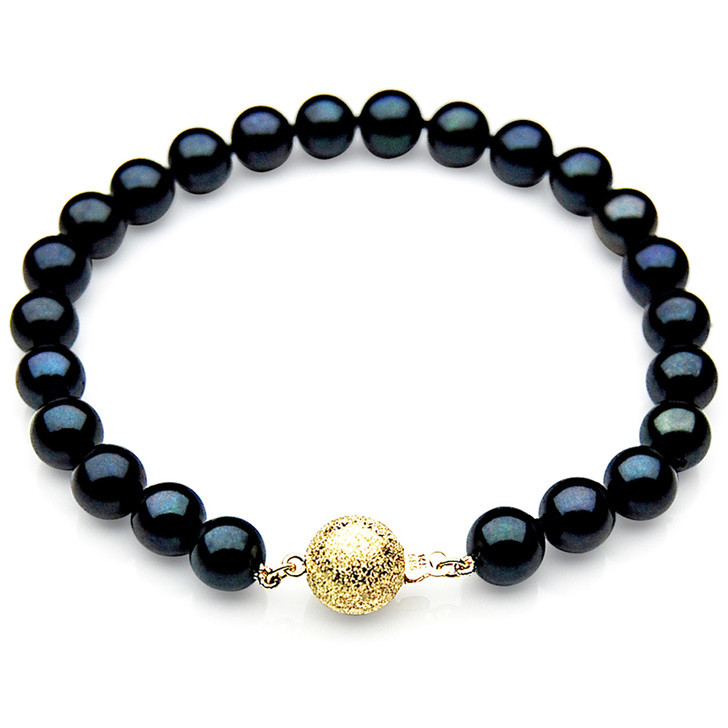 AB012 (AAA 7-7.5mm Japanese Akoya Saltwater Pearl Bracelet gold clasp)