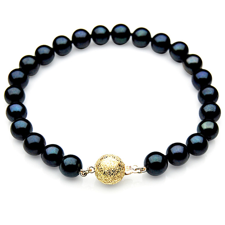 AB014 (AAA 7-7.5mm Japanese Akoya Saltwater Pearl Bracelet gold clasp)