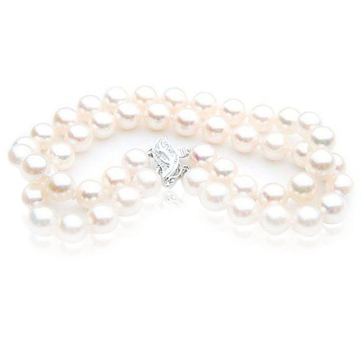 AB019 (AAA 7-7.5mm Japanese Akoya Saltwater Pearl Bracelet  diamond clasp )
