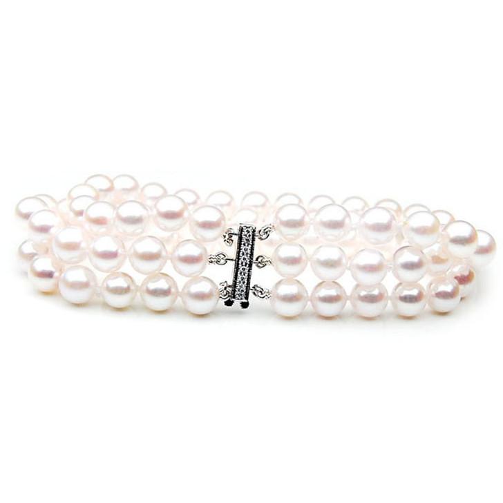 AB020 (AAA 7-7.5mm Japanese Akoya Saltwater Pearl Bracelet  diamond clasp )